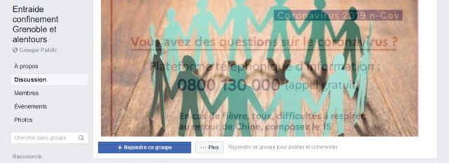 Le groupe Entraide confinement Grenoble et alentours a été créé le mardi 17 mars © Capture d'écran Facebook