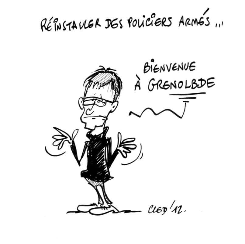Dessin de presse de Cled'12 réalisé lors du débat Place Gre'net des municipales de Grenoble le 5 mars 2020. © Cled'12 - tous droits réservés