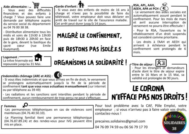 Visuel « Le corona n'efface pas nos droits » © Solidaires Isère