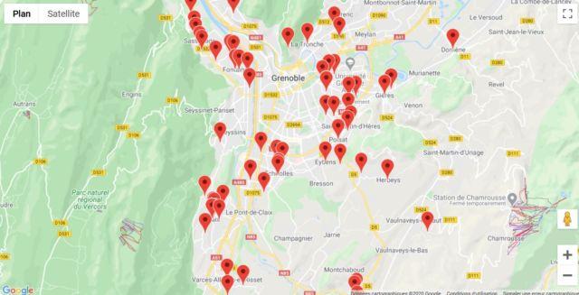 La plateforme d'entraide de la Métropole déploie une carte interactive pour la recherche d'aide sur son territoire. © Métropole de Grenoble
