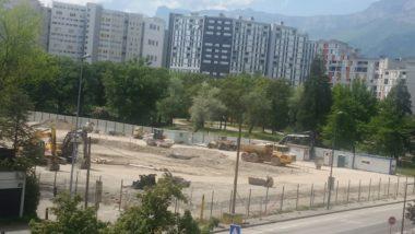 Travaux de la reconstruction du collège Lucie Aubrac, quartier Villeneuve, lundi 24 avril 2020 © Marjolaine Gondran