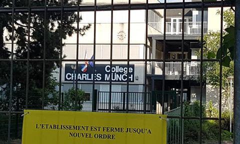 UNE Collège Münch à Grenoble, fermé comme tous les établissements d'Isère et de France pour cause de crise sanitaire de coronavirus, vendred 24 avril 2020 © Séverine Cattiaux - Place Gre'net