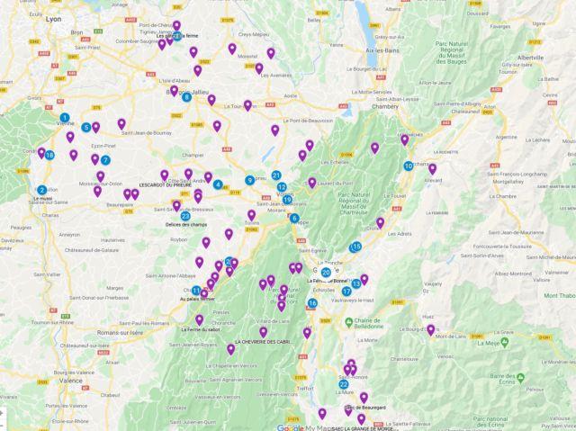 La carte interactive pour trouver ses produits locaux mise en ligne par la Chambre d'agriculture de l'Isère