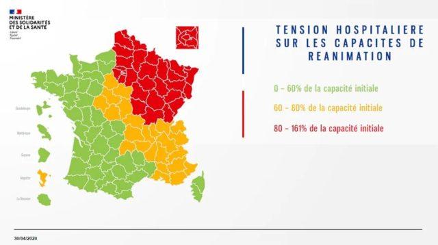 synthèse sanitaire du Covid-19 en France sous forme de carte