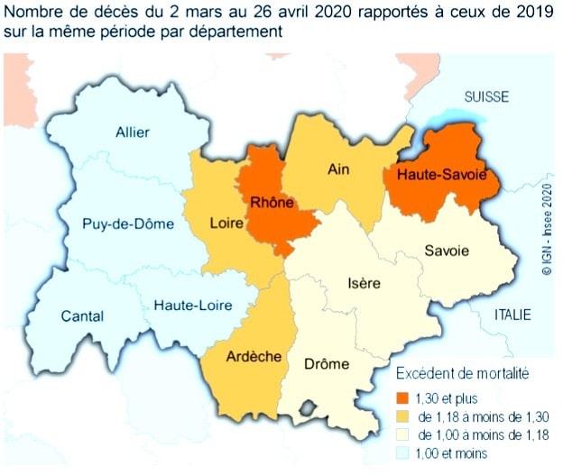 Nombre de décès comparés à ceux de 2019. Auvergne Rhône-Alpes est la 5e région de France qui a enregistré le plus de décès pendant la période de la crise sanitaire, mais l'Isère s'en sort bien.