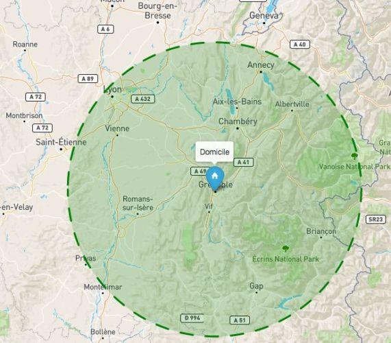 La carte interactive Covidradius réglée sur un rayon de 100 kilomètres. © Covidradius