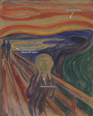 """Zoom sur les zones altérées du tableau """"Le Cri"""" (1910?) (Munch Museum, Oslo; catalogue n. Woll.M.896). © Irina Crina Anca Sandu et Eva Storevik Tveit, Munch Museum"""