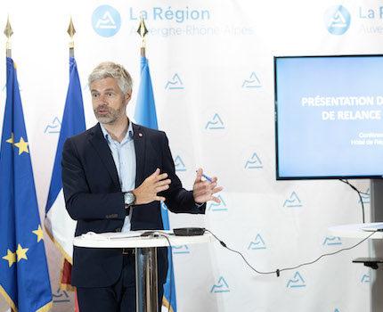 Laurent Wauquiez présentant le plan de relance économique de la Région Auvergne - Rhône-Alpes le 4 juin 2020. © Charles Pietri