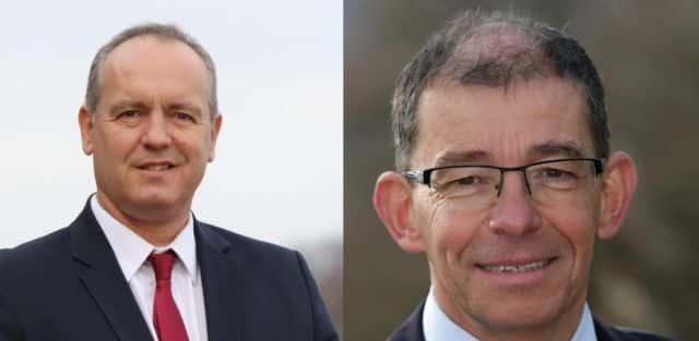 Frédéric Battin (à gauche) et Yves Monin (à droite) sont tous deux issus de la majorité municipale sortante. Comme pour le premier tour, ils s'affronteront le 28 juin prochain dans les urnes. Et ce malgré la menace d'un basculement à gauche de la commune. © Frédéric Battin / Yves Monin