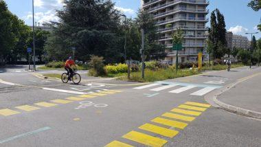 Intersection des chronovélos 3 et 2, mai 2020 © Séverine Cattiaux - Place Gre'net