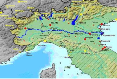 Le bassin du Pô, enchâssé dans les reliefs, sauf à l'est (carte fracademic.com) (Tribune de Jean-Jacques Thillet)