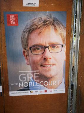 Affiche de campange d'Olivier Noblecourt. © Grenoble nouvel air