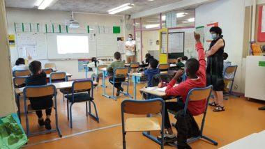 Ecole Les Genêts juin 2020 : salle de classe pendant le déconfinement dans © Séverine Cattiaux - Place Gre'net