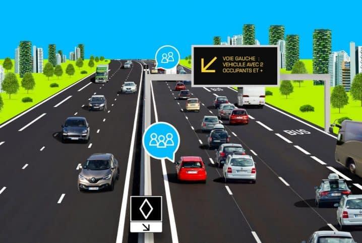 Schéma de la voie réservée au covoiturage sur l'A48. © APRR