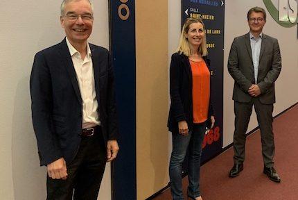 Claude Habfast (à gauche), président de la SPL Alpexpo passe le relais à Nathalie Béranger, aux côtés du directeur François Heid -DR