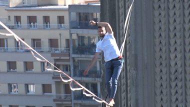Nathan Paulin en recherche d'équilibre à 46 m du sol. © Joël Kermabon - Place Gre'net