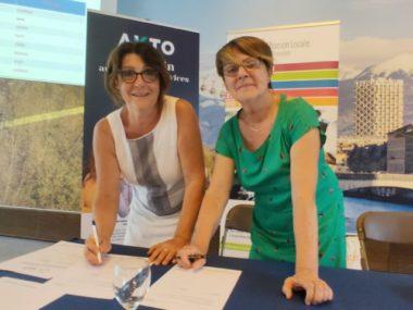 Mission locale de grenoble : Annie Santucci, représentante de la société d'intérim Proman et Maryvonne Boileau, présidente de l'association « Mission Locale de Grenoble »