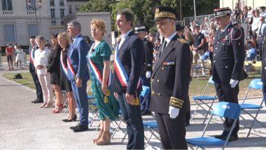 Les officiels lors de la prise d'armes du 14 juillet place de Verdun. © Joël Kermabon - Place Gre'net