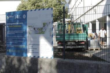 Les travaux à l'école Clémenceau ont commencé le 8 juillet 2020. © Thomas Imbert - place Gre'net