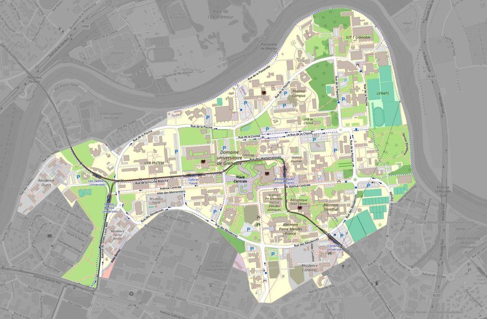 Carte campus universitaire Grenoble