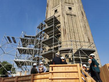 Un échafaudage enserre les deux piliers sud de la tour Perret. © Joël Kermabon - Place Gre'net