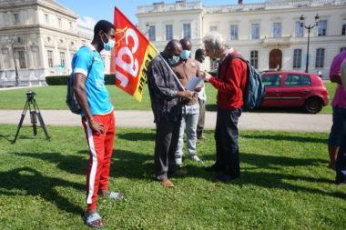 Rassemblement des militants de la CGT et de la CISEM pour la régularisation des sans-papiers