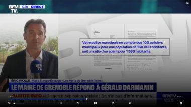 Invité sur BFM TV, Éric Piolle répond aux critiques de Gérald Darmanin sur l'insécurité à Grenoble. © BFM TV (copie d'écran)