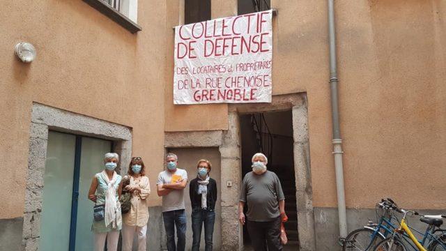 Action du collectif de défense des habitants de la rue Chenoise contre les nuisances sonores, dimanche 20 septembre 2020 © Séverine Cattiaux - Place Gre'net