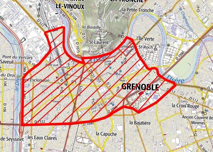 Le nouveau périmètre d'obligation du port du masque sur Grenoble, en vigueur à partir du jeudi 17 septembre.