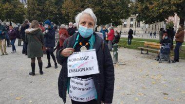 Colette, professeure retraitée présente au rassemblement en mémoire à Samuel Paty, dimanche 18 octobre 2020. © Séverine Cattiaux – Place Gre'net