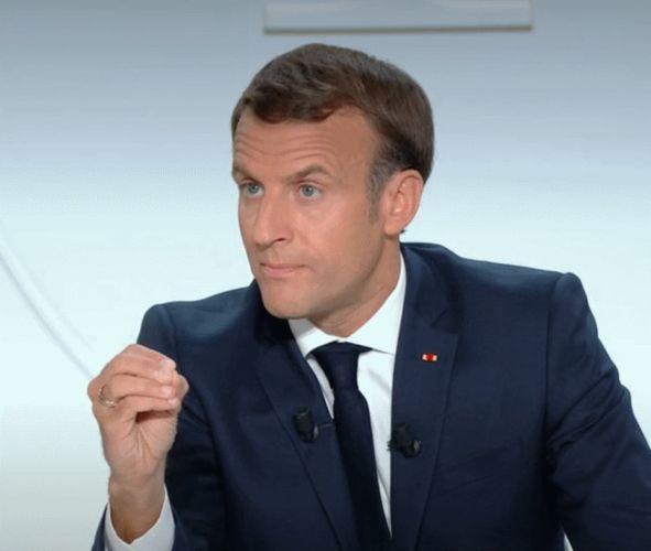Emmanuel Macron lors de l'interview télévisée du 14 Octobre 2020