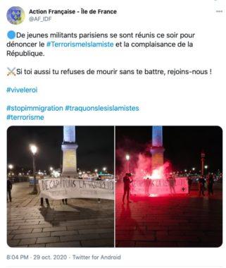 Action française Tweet
