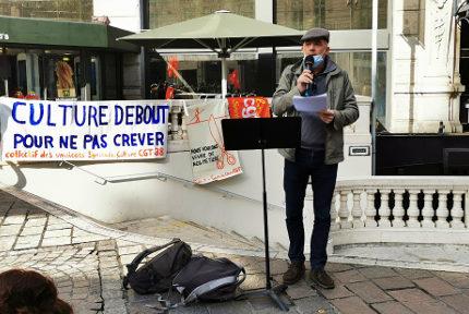 Michel Szempruch, réalisateur et membre du collectif des syndicats du spectacle et de la culture CGT Isère. © Joël Kermabon - Place Gre'net