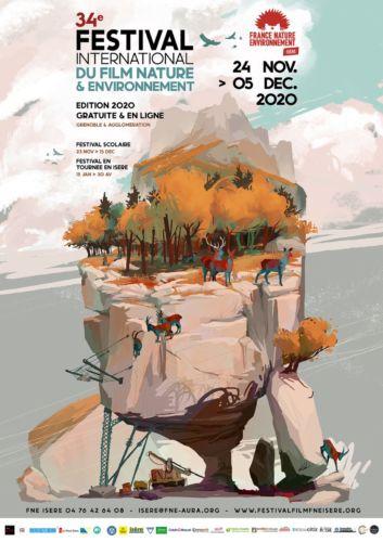 Un Festival du film nature & environnement 100 % en ligne.Une affiche pour une édition 100 % numérique © FNE Isère