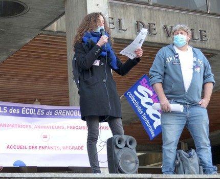 Rassemblement des personnels des écoles de Grenoble mardi 17 novembre à l'appel de syndicats Sud et CNT © Paul Turenne - Place Gre'net