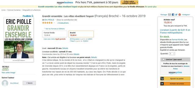 La présence du livre d'Éric Piolle en vente sur Amazon amuse les internautes.