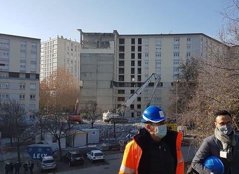 COUV Démolition de 46 logements collectifs au 7-9 allée du Limousin à Echirolles dans le cadre du programme de renouvellent urbain des deux Villeneuves, 3 décembre 2020 © Séverine Cattiaux – Place Gre'net