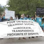 Action de l'Alliance citoyenne contre Grenoble Habitat en juillet 2020. © Thomas Imbert – Place Gre'net