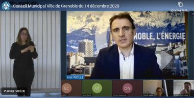 Eric Piolle, maire de Grenoble, lors du conseil municipal du lundi 14 décembre 2020