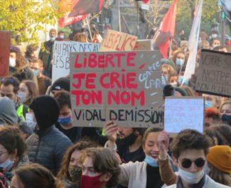 Pancarte contre la loi LPR dans le cortège de la manifestation du samedi 28 novembre 2020. © Tim Buisson – Place Gre'net