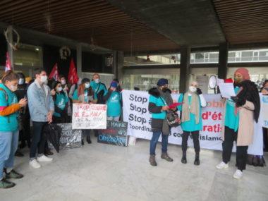 Prise de paroles de l'Alliance citoyenne devant l'hôtel de ville de Grenoble. © Tim Buisson – Place Gre'net