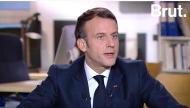 Emmanuel Macron lors de l'interview accordé à Brut avait évoqué les policiers. Copie d'écran