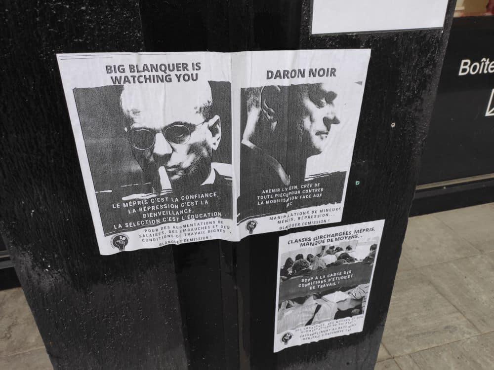 Des affichettes qui témoignent de l'hostilité contre le ministre Jean-Michel Blanquer © Florent Mathieu - Place Gre'net