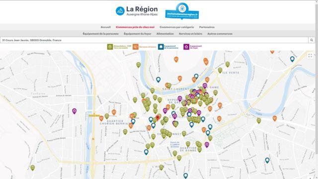 La plateforme indique les commerces pratiquant la vente en ligne à proximité de chez soi