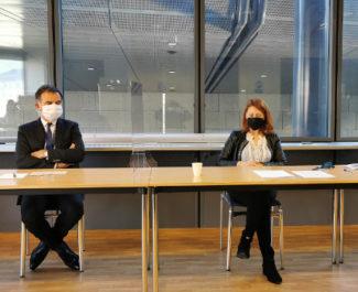 Pascale Vernay et Jacques Dallest lors de la conférence de presse de la Cour d'appel; © Joël Kermabon - Place Grenet