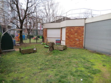 Le jardin de la crèche de la Villeneuve, fermée depuis le mardi 5 janvier. © Tim Buisson – Place Gre'net