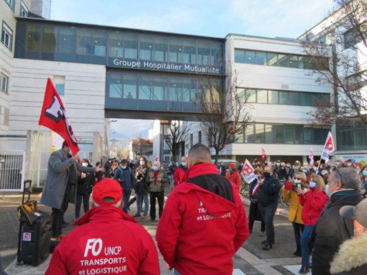 GHM de Grenoble: les salariés entament une grève illimitée.Le syndicat FO et l'Unsa ont entamé une grève illimitée lundi 18 janvier. © Tim Buisson – Place Gre'net