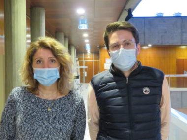 Sandra Krief, adjointe à la condition animale et Maxence Alloto, adjoint aux commerces à la Ville de Grenoble. © Tim Buisson – Place Gre'net