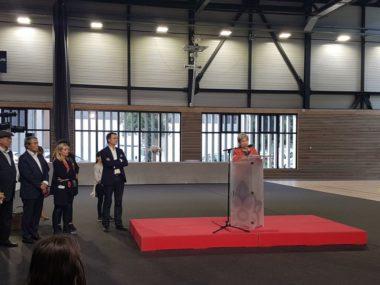 Marie-France Motte lors de l'inauguration du Gymnase Jean-Philippe Motte, avec Eric Piolle et Michel Destot, octobre 2019 © Séverine Cattiaux - placegre.net