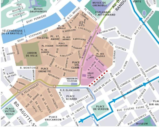 Une extension de la piétonnisation à Grenoble en projet.La carte présentant le projet d'extension de la piétonisation. En orange, les zones déjà piétonnes. En rose, celles destinées à le devenir. © Ville de Grenoble